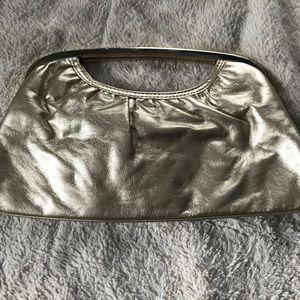 Metallic pale gold Express clutch